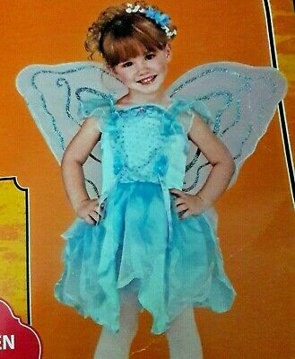 Girl's L Blue Pixie Fairy Dress Up Costume 10-12 Halloween New NWT Wings