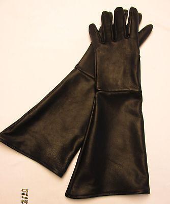 MEN'S BLACK  DEERSKIN LEATHER LONG CUFF GAUNTLET GLOVES  - MADE IN THE USA - Gauntlet Gloves