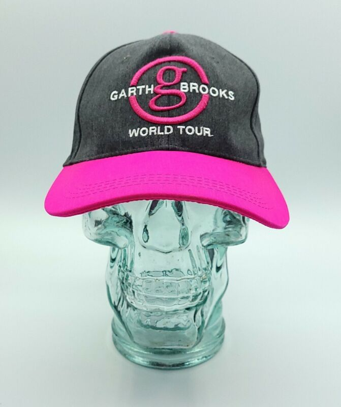 Garth Brooks World Tour Hat Pink Gray Breast Cancer Awareness Signature 7 Series