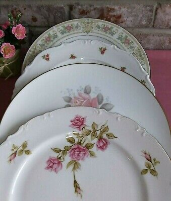 Mismatched China Dinner Plates (4) Pinks Florals Gold Bands Wedding Baby Shower