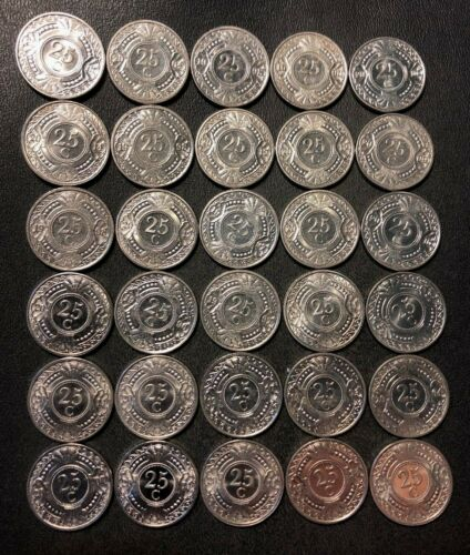 Old Netherlands Antilles Coin Lot - 25 CENT - 30 Excellent Coins - FREE SHIPPING