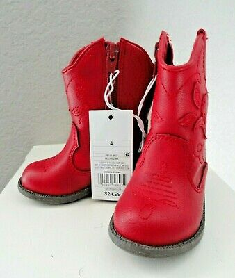 New Cat & Jack Adorable Red Zipper Western Cowboy Boots sz infant 4