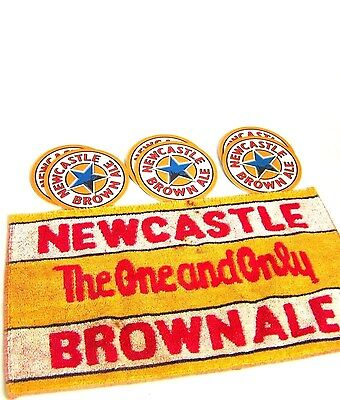 """Older NEWCASTLE 9 x 15.5 BAR TOWEL & A DOZEN NEW 3.25"""" DRAUGHT BEER COASTERS"""
