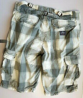 SUPERDRY MENS CARGO COMBAT SHORTS W32 (M) GREY WHITE CHECK ZIP   #04/02