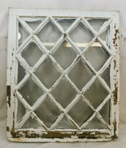 1800s Antique WINDOW SASH Diamond Pattern VICTORIAN Style Original Glass ORNATE