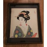 "Vintage 12"" x 14 1/2"" Framed Oriental  Painting of a Gesiha"