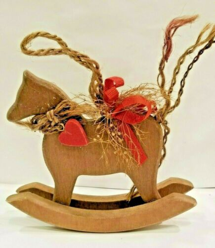 Country Wooden Rocking Horse Christmas Ornament Heart Tag Twigs Twine 5