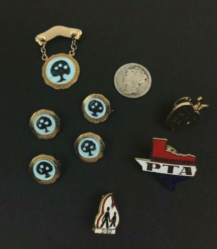 Vintage PTA National Congress Of Parents And Teachers Gold Tone Blue Enamel Pins