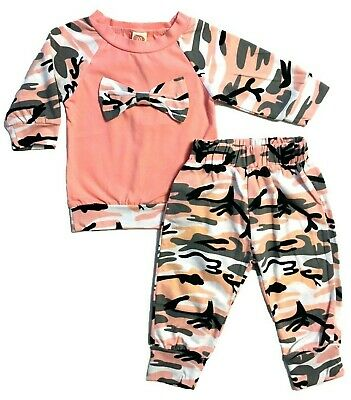 Baby Girls Tracksuit Pink Camo Bow Top Long Pants Headband 3 Piece Outfit Set