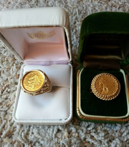 LADIES GOLD COIN RINGS-1911 SIZE 9, 1878 SIZE 7 LOT OF 2 14K SOLID GOLD MATERIAL