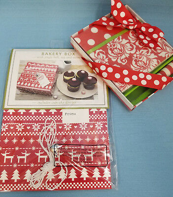 Christmas Holiday Baking Cupcake Box & Entertaining Napkins with Spreader Red - Bulk Cupcake Boxes