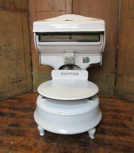 Antique Dayton Scale - money weight white porcelain - farmhouse rustic decor