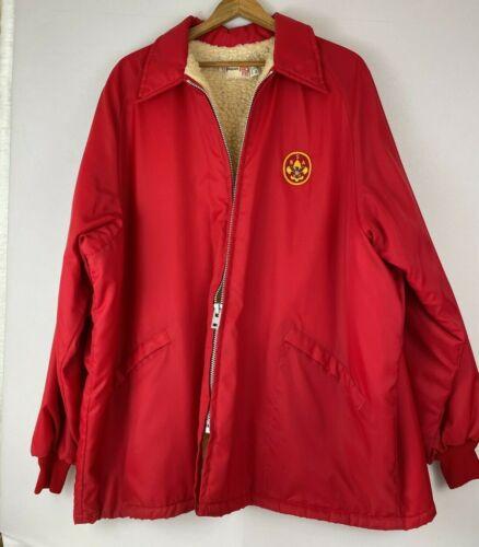 Vintage Boy Scouts of America Unisex XXL Red Fleece Lined Jacket Windbreaker