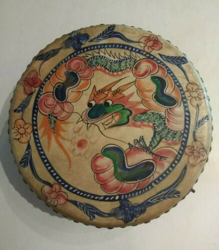 """Japanese Hand Painted Taiko Drum with Dragon and Phoenix 10"""""""