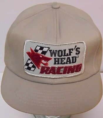 Vtg 1980s WOLF'S HEAD MOTOR OIL TEAM ADVERTISING SNAPBACK PATCH HAT MADE IN USA (Wolf Head Hat)