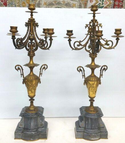 Antique Gilt Bronze Marble Continental Candelabra Pair 24 1/2