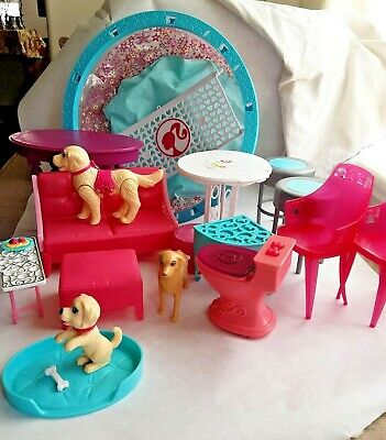 Lot of 15+ BARBIE Assorted Pieces Furniture Pool Dogs Stools Toilet Tables