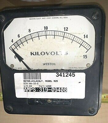 Vintage Weston Model 925 1059 Kilovolts 6 Metal Case Substation Panel Meter