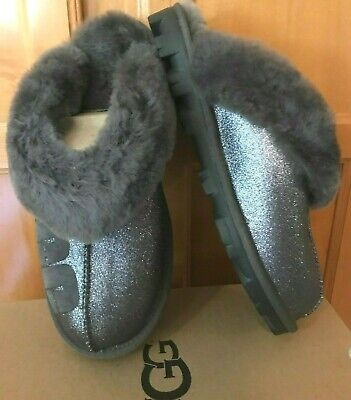 NIB NEW Authentic Ugg Coquette Sparkle Women's Slippers Charcoal Gray Size 8