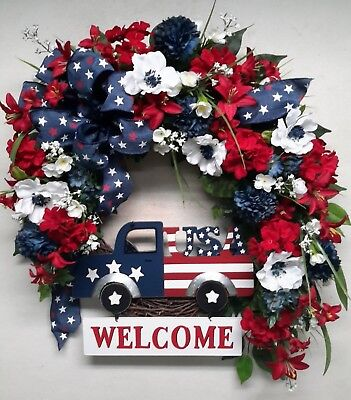 Flower Door Wreath Patriotic USA Americana Wreath Veteran All Year Decor SALE