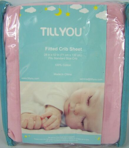 Fitted Crib Sheet 100% Cotton Fits Standard Size Cribs 28 x 52 Pink Till You New