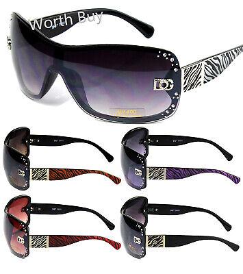 Womens Fashion Shield Zebra Print Wrap Sunglasses Shades Rhinestones Designer (Print Sunglasses)