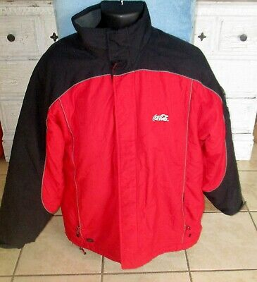 Mens Coca Cola Winter Jacket Coat Size L Insulated Red Black Very Good