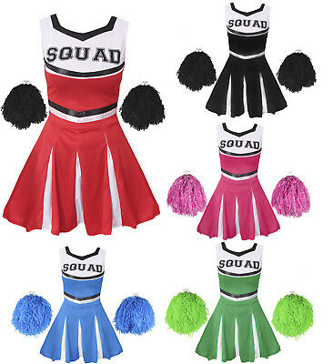 CHEERLEADER FANCY DRESS COSTUME CHILDS CHEER UNIFORM OUTFIT HIGH SCHOOL SPORT - Cheerleader Dress Up Costume