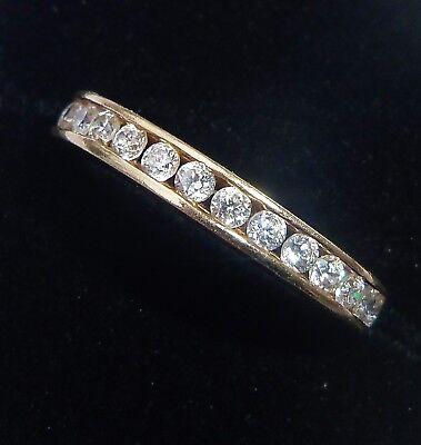 14ct Gold Tension Set CZ Half Eternity Ring, Size I