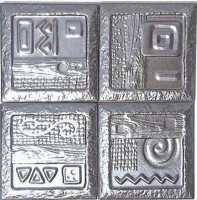 SET OF 4  CERAMIC WALL TILE DECORS AZTECA SCULPTURED METALIC GLAZED Set Ceramic Tile