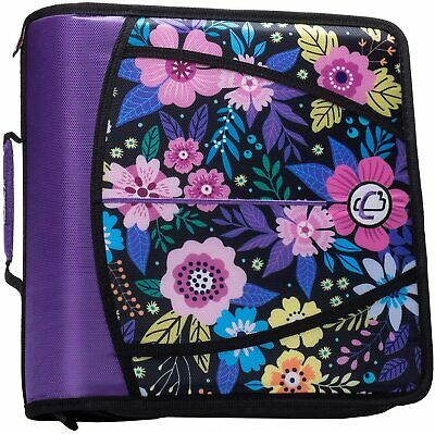Case-it Mighty Zip Tab 3-ring 3-inch Zipper Binder Pink Floral