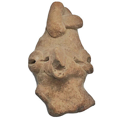 Pre-Columbian Central American Archeological Human Face Clay Pottery Artifact G1