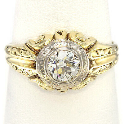 Antique 14K Gold 0.93 Carat Old Euro Diamond Art Deco Band Ring 6.7 Grams Sz 9.5