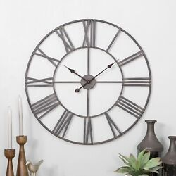 30 Large Round Metal Wall Clock Open Design Rustic Industrial Accent Decor Gray