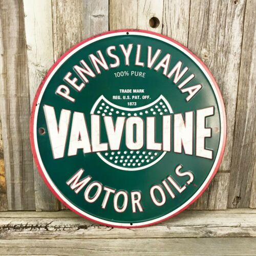 "Valvoline Motor Oils Embossed Rustic Logo 12"" Metal Tin Sign Garage Vintage New"