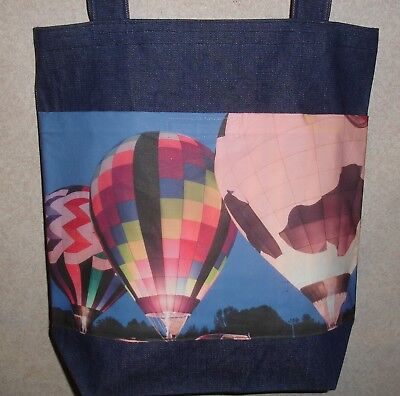 Glowing Ballons (NEW Handmade Large Hot Air Ballon Glow Photo Denim Tote)