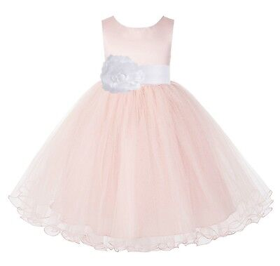 Blush Pink Flower Girl Dress Tulle Dress Pageant Dress Communion Dress Birthday