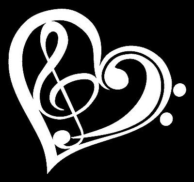 Online Shopping Of Home Decor In India BASS TREBLE CLEF HEART Vinyl Decal Sticker Car Window Wall Bumper Love Music One King Lane Home Decor