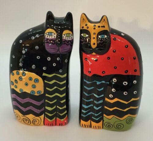 Laurel Burch Vibrant Color Kitty Cat Salt & Pepper Shakers Black Ceramic by Ganz