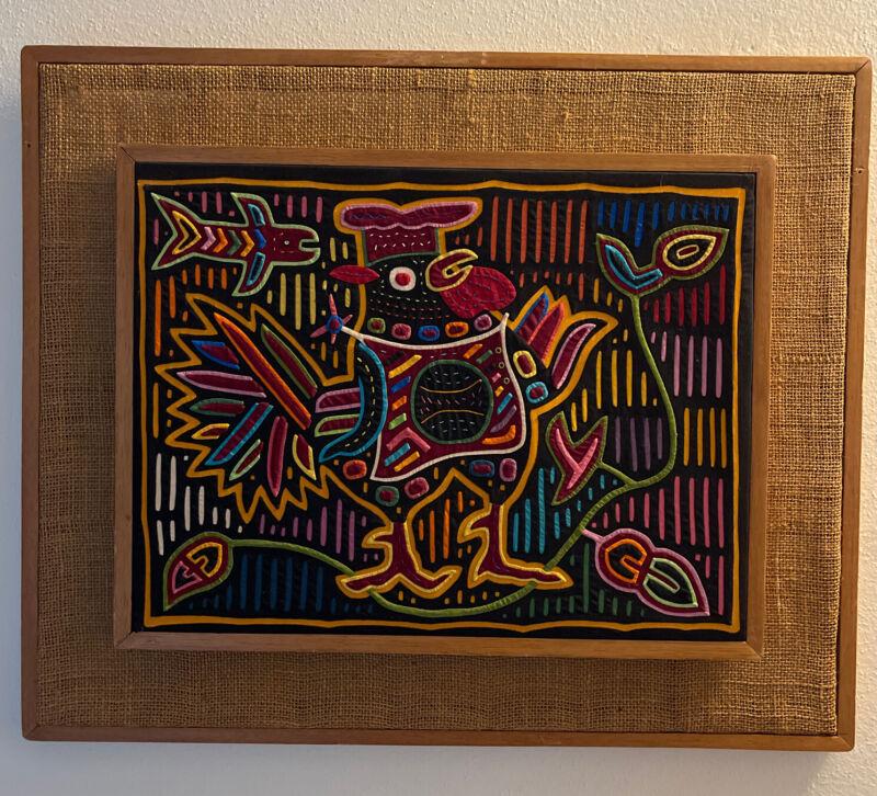 Mola Kuna Panama Folk Art Sewn Framed