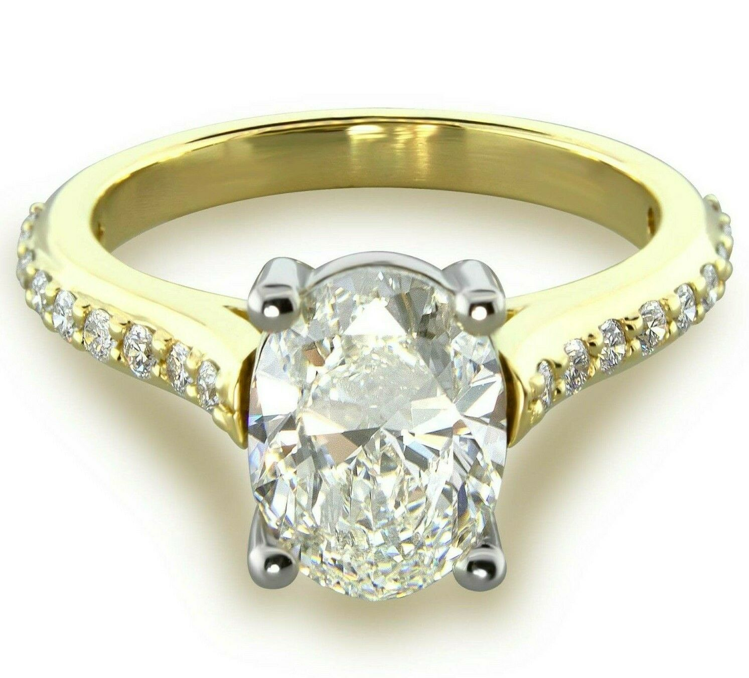 1.45 Carats I-SI1 GIA cert. Oval Diamond Engagement Ring 14k Yellow & White Gold
