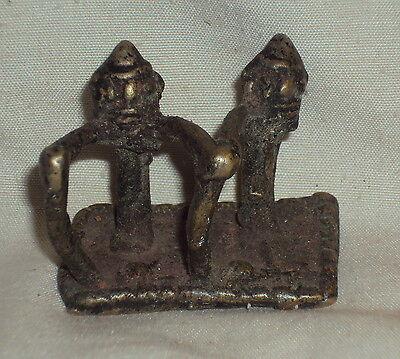 Antique Indian Bronze Statue TRIBAL Hindu SAGE Rare In Yoga Mudra Jap ##