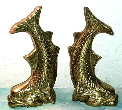 """Vintage Brass Fish Bookends Koi Fish """"Dolphin"""" Figurines"""