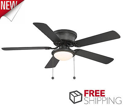 Ceiling Fan with Light Low Profile 52 inches Flush Mount Frosted Glass Black Dry