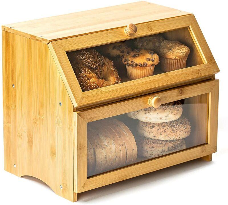 Bamboo Bread Box for Kitchen Countertop. 2 Layer Clear Bread Box Plexiglass Wind