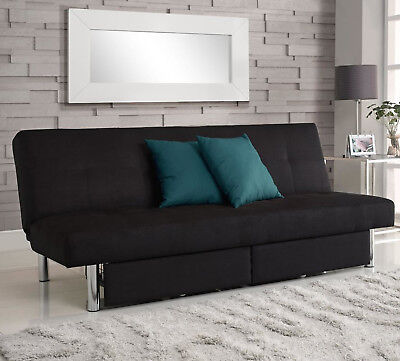 Convertible Sofa Full Size Bed Sleeper Futon Couch Living Room Modern Black New