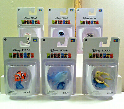 Thinkway Toys Disney Pixar Figures NEMO, BRUCE, CRUSH, WALL-E, EVE, M-O.2Inches.