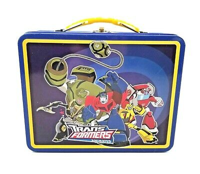 Transformers Animated Tin Steel Lunch Box Tin Box Co. Embossed 3D Blue