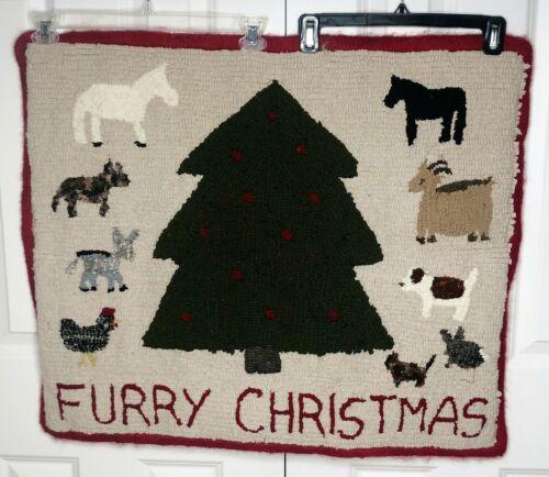 "Primitive Hand Hooked Folk Art Wool Loop Rug FURRY CHRISTMAS ANIMALS 31"" x 27"""