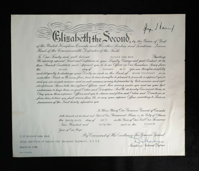 Rare 1962 Royal Canadian Queen Elizabeth II Military Commission Document Canada